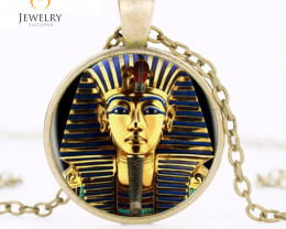 King Tut Logo Pendant Necklace Tutankhamun Golden Kin  OPJ2651