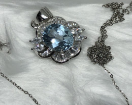 Natural Swiss Blue Topaz With Cz 925 Silver Necklace+Chain