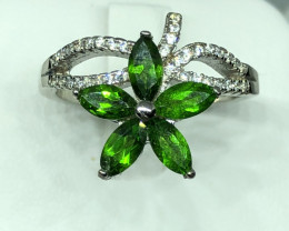 Natural Chrome Diopside With Cz 925 Silver Ring
