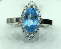 Natural Blue Topaz With CZ  925 Silver Ring