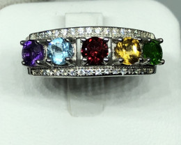 Natural Molty Colour Stones With Cz 925 Silver Ring