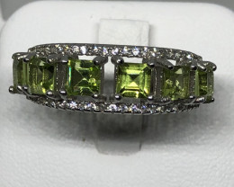 Natural Peridot With Cz 925 Silver Ring