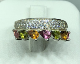 Natural Tourmaline With Cz 925 Silver Ring
