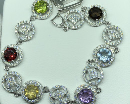 Natural Molty Colour Stones With Cz 925 Silver Bracelet