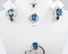 Natural Blue Topaz Set with White Zircons in Silver 925