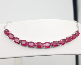 Glass Filled Ruby Bracelet With Silver 925