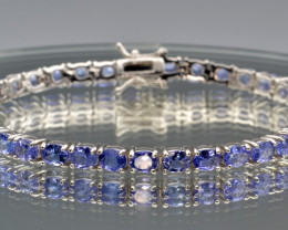 Natural Tanzanite Faceted Stones and 925 Silver Bracelet