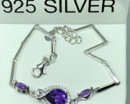 Natural Amethyst With Cz 925 Silver Bracelet