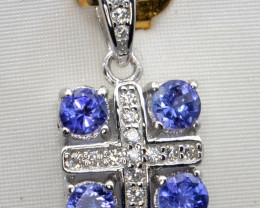 Natural Tanzanite, CZ and Silver Pendant