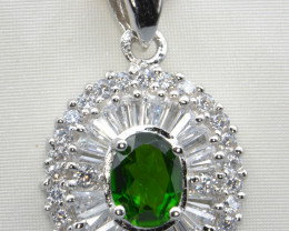 Natural Chrome Diopside, CZ and Silver Pendant