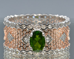 Natural Chrome Diopside, CZ and Silver Ring