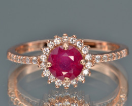 Natural Ruby, CZ and Silver Ring