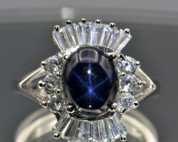 Natural Star Sapphire, CZ and Silver Ring