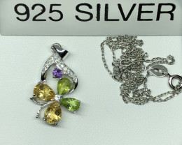 Natural Citrine Peridot And Amethyst 925 Silver Necklace+Chain