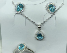 Natural Apatite Full Set With Cz 925 Silver Full Set