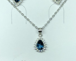 Natural London Blue Topaz Set With Cz 925 Silver Set