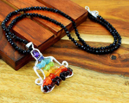 Faceted Spinel Necklace With Seven Chakra Yoga Pendant