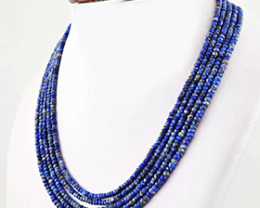 5 Strand Faceted Blue Lapis Lazuli Necklace