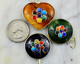 Genuine 163.00 Cts Mix Gem Seven Chakra Pendant Lot