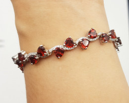 Amazing Rhodolite Garnet Bracelet with White Zircons