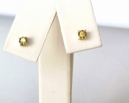 Yellow Diamond Stud Earrings 0.20 TCW in Solid 9kt. Gold