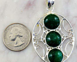 Genuine 49.00 Cts Green Onyx Tibet Silver Pendant
