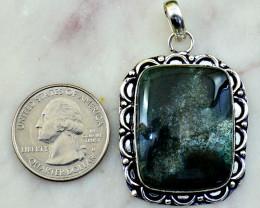 Genuine 76.00 Cts Ocean Jasper Tibet Silver Pendant