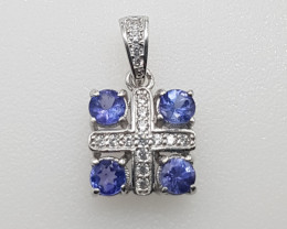 Beautiful Tanzanite Pendant with White CZ