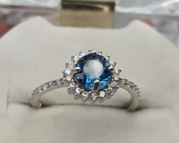 Top London Topaz Ring with White Zircons.