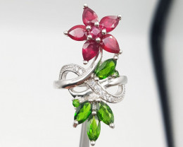 Ruby & Chrome Diopside Ring With Zircons & 925 Silver