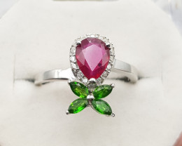 Glass Filled Ruby & Diopside Ring.