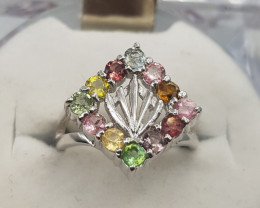 Top Mix Tourmaline Ring In Silver 925