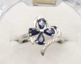 Natural Sapphire Ring with Zircons In Silver
