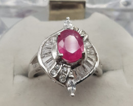 Glass Filled Ruby With White Zircons In 925 Silver