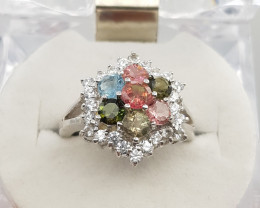Stunning Tourmaline Ring with White Zircons In silver 925.