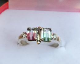 Gorgeous Bi Color Tourmline Ring.