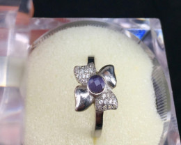 Natural Amethyst And Zircon Rings Silver
