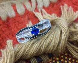 Beautiful Natural Zircon  Blue .. White ..Black...   Rings