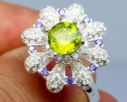 Natural Spinning Green Peridot 925 Sterling Silver Ring