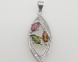 Natural Tourmaline Pendant with CZ