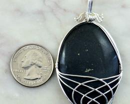 Genuine 135.00 Cts Black Obsidian Tibet Silver Pendant