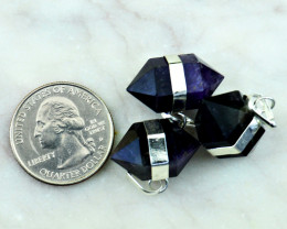Genuine 72.00 Cts Amethyst Double Terminated Point Pendant Lot