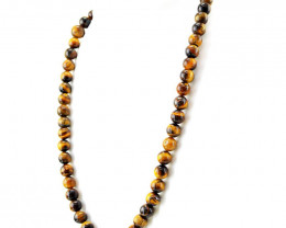 Golden Tiger Eye Single Strand Round Beads Necklace