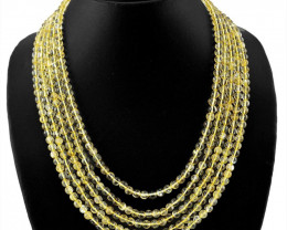 5 Lines Yellow Citrine Round Shape Beads Necklace