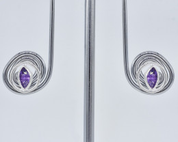 AMETHYST EARRINGS 925 STERLING SILVER NATURAL GEMSTONE JE288