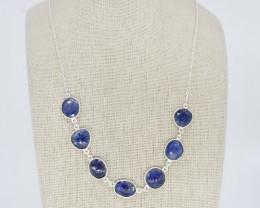 BLUE SAPPHIRE NECKLACE NATURAL GEM 925 STERLING SILVER JN153