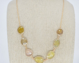 YELLOW SAPPHIRE NECKLACE NATURAL GEM 925 STERLING SILVER JN157