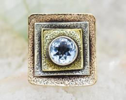 BLUE TOPAZ RING 925 STERLING SILVER NATURAL GEMSTONE JR252