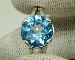 Natural Swiss Blue Topaz 925 Sterling Silver Wedding's Ring