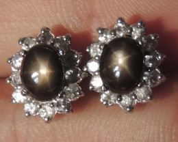 "Black ""Star Sapphire"" Earrings,  Unheated"